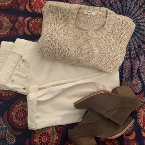 Madewell cream and beige knit sweater